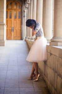 Blush Pink Tulle Skirt by space46 Boutique - Cut out Tee- Rosegold Pumps- Whimsical Outfit-251